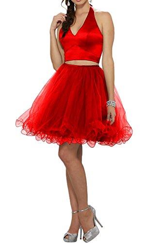 Missdressy Zaertlich Sexy A-Linie Mini Neckholder Satin Tuell Abendkleider Partykleider Brautjungfernrkleider Rot