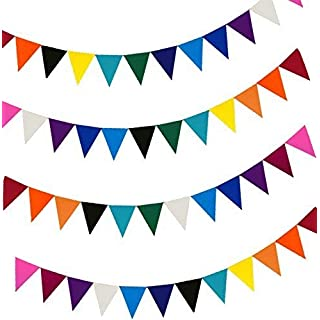 48pcs Colourful Felt Fabric Material Party Bunting Flags for Birthday Wedding Festival Garden Bedroom Decorations(10 Colours)