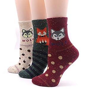 LILIKI@ Cartoon Frauen Nette Chrismas SockenWarme Socken Für Frauen Lustige Damen Winter Socken Mädchen Kunst Socke 3D Cartoon Tier 5 Paar