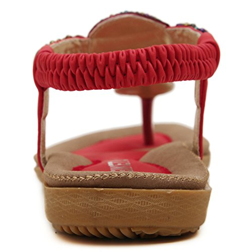 Azbro Women's Fashion Bohemia Summer Beaded Clip Toe Sandals Apricot