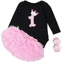 Recién nacido Jumpsuit Infant Romper Vestido Set Cumpleaños Vestido NO 1 73