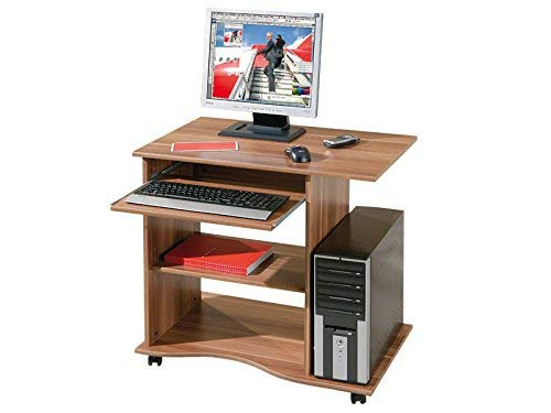 Inter link scrivania porta pc con ruote truciolare, 80 x 50 x 75 cm, noce