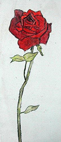 Echte Keramik Fliesen (Echtes Kunsthandwerk: Tolle Fliese mit einer Rose; Blume, Wandbild, Kunst, Kachel, Fliesenbild, Bild)