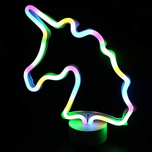 LED-Einhorn-Zeichen-Nachtlicht, Neon Unicorn Shaped Decor Licht mit Halter Basis, Tischleuchte Festzelt Zeichen - Tischleuchte Neon