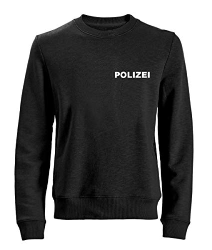 POLIZEI Sweat-Shirt/Pullover Schwarz - Brust & Rücken bedruckt - Neu & OVP, T-Shirt Größe:M