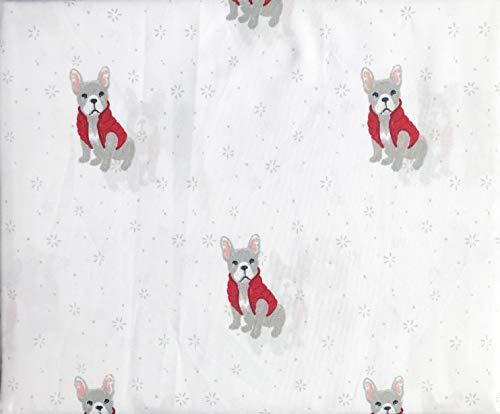 Jingles & Joy Bedding 4-teiliges Bettwäsche-Set für Queen-Size-Bett, Mikrofaser, extra Tiefe Taschen, graue Weihnachtshunde in rotem Pullover, Weste auf Weiß Designer Pullover-westen