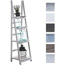 CLP Estanteriá en escalera de madera plegable ALMA, 4 áreas de almacenamiento, uso en varios rincones de la casa blanco envejecido