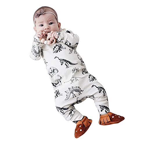 9b6be0465 YanHoo Ropa para niños Recién Nacido bebé niño niña Manga Larga Dinosaurio  Mameluco Mono Ropa Traje