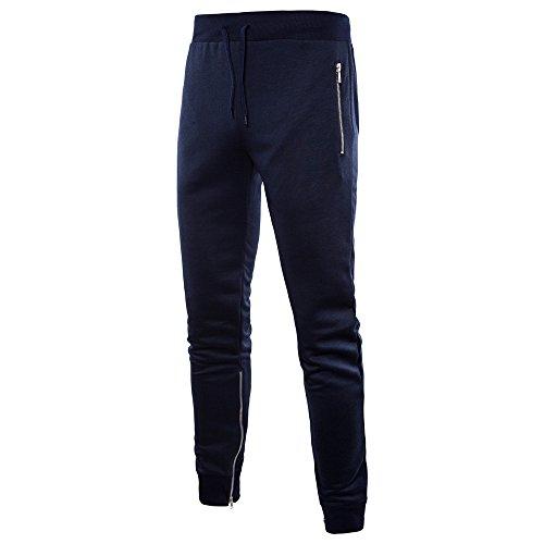 Honestyi Herren Füße Hose Lässige Mode Hosen Seitliche Reißverschlüsse Große Größe Sporthosen beiläufiger seitlicher Reißverschluss große Sporthose PT07(Marine,L) - Knöchel-reißverschluss