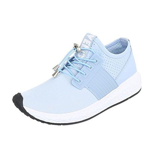 Sportschuhe Damenschuhe Geschlossen Sneakers Schnürsenkel Ital-Design Freizeitschuhe Hellblau 499-Y