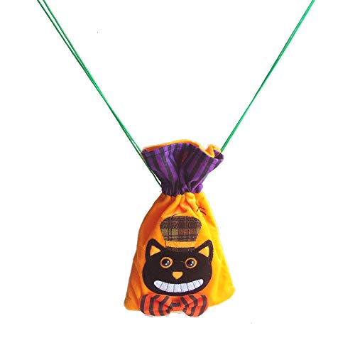 DANXQ Halloween Pattern Decoration Non-Woven Fabric Candy Bag Simple Drawstring Backpack for Children,2 PCS/Pack (Yellow-CAT)