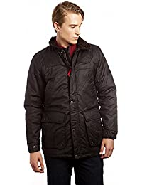 VEDONEIRE Mens Padded Wax Jacket with detachable hood (3053 BROWN) cotton waxed winter