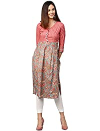 Jaipur Kurti Women Grey Floral Straight Cotton Kurta