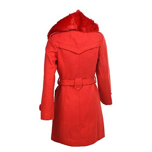 SODIAL(R) Damen Baumwolle duenner zweireihiger Winter Mantel Jacke schwarz M Rot