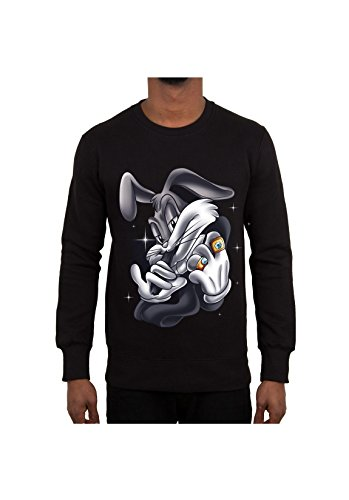 sweat-col-rond-bugs-bunny-gangsters-noir-s