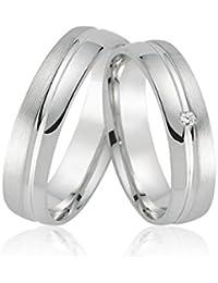 2 Trauringe 925 silber Paarpreis Verlobungsringe Freundschaftsringe Hochzeitsringe Silberringe mit Gravur Zirkonia Verona96
