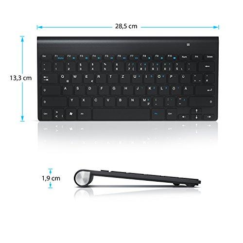 CSL - wireless Slim Tastatur / kabelloses Funk Keyboard | Wireless / 2,4G Lightweight Design | Multimedia Keys | QWERTZ-Layout (Deutsch) | schwarz - 2