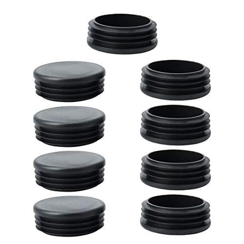 uxcell Abdeckkappen für Möbel, 60 mm, Kunststoff, rund, geriffelt, 5,6 cm Innendurchmesser, Schwarz -