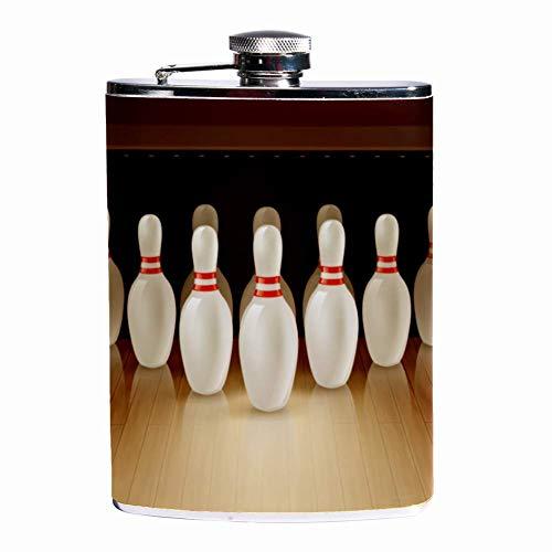 Auslaufsicherer Likör-Flachmann 19,7 ml Flagon Becher Lederbezug mit Bowling-Spiel-Ball Tasche Behälter für diskretes Schnapstrinken von Whisky, Alkohol, Likör Color2