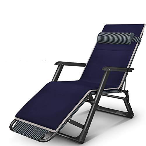 ssok chair Verstellbar Liegestuhl, Outdoor Terrasse Liegestuhl Camping Kinderbett Office, Klappstuhl Bett Mit Kissen 1200d Oxford-blau