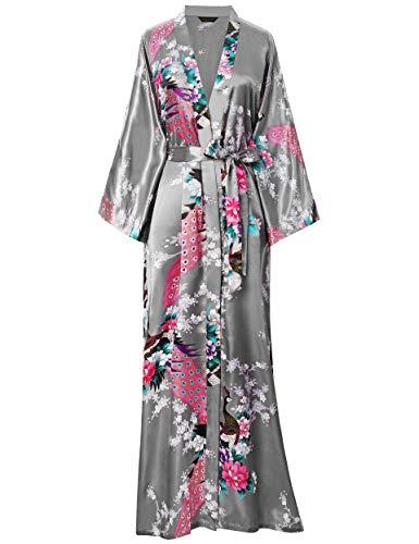 ArtiDeco Vestido Kimono Pijama de Seda Bata Novia Kimono de Seda Ropa de dormir de Satén Estampado...