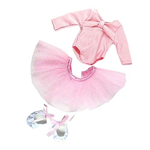 Homyl Pink Puppen Ballettanzug Ballett Tanzkleid & Schuhe Outfit für 18 Zoll Puppe Dress Up