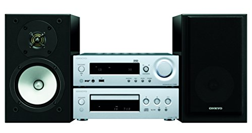 Onkyo CS-N1075(SB) Hifi Kompaktanlage mit Receiver, CD Player und Lautsprechern (DAB+, Radio, Bluetooth, WLAN, Musik Streaming (Spotify u.a.), Internetradio, Multiroom, 70 W/Kanal), silber/schwarz