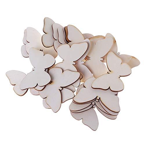 Hgfcdd 25 Stück lasergeschnittene Holz-Schmetterlinge Verzierungen Holz-Form Handwerk Hochzeit Geschenk Dekoration