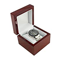 boxdisplays 1 x Premium Glossy Rosewood Veneer Wooden Watch Bangle Pillow Box(BDWW8RW) Premium Glossy Wooden Wrist Watch/Bangle Pillow Box Great Birthday Gift Party Single Watch Gift Case