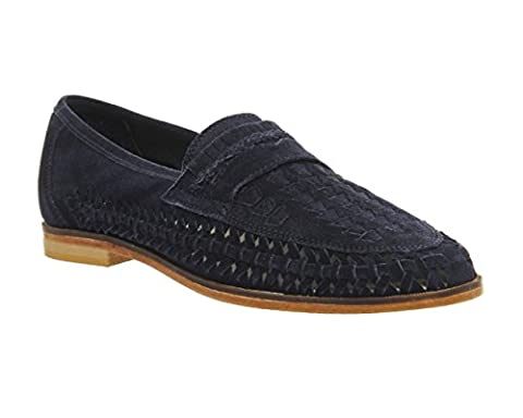 Mens Gents Boys Bow Weave Slip On Tan Real Leather Suede Boat Shoes Summer Casual Office Holiday Work Loafers Size 6 7 8 9 10 11 12 (UK 8, Navy Suede)