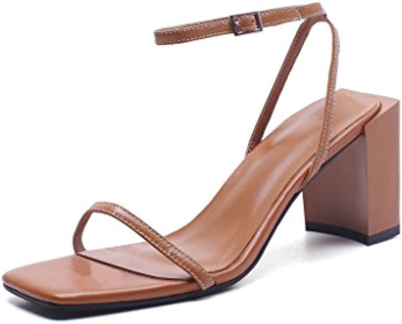 JIANXIN L'Estate Femminile dei Sandali di Parola della Pelle Pelle Pelle di Pecora della Testa di Pecora Quadrata delle Scarpe... | Miglior Prezzo  | Scolaro/Ragazze Scarpa  e03abe