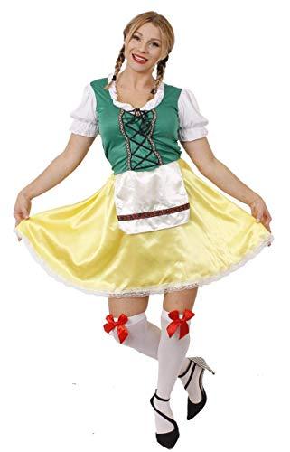 Deutsches Festival Bier Kostüm - ILOVEFANCYDRESS Damen BAYERISCHE Bier MÄDCHEN KOSTÜM KOSTÜM Oktoberfest Frauen Bier DEUTSCHE MAGD Wench Bier Festival GRÜN & GELB Kleid MIT SCHÜRZE (XX-GROßE EU 50/52)