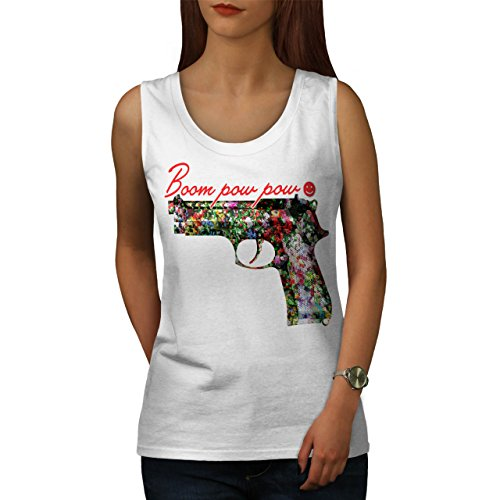 Gewehr Blume Töten Gangster Blume Gewehr Damen S-2XL Muskelshirt | Wellcoda Weiß