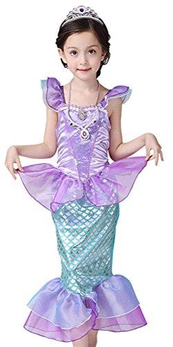 CANIS kleine Mädchen Onesie mit Rüschenärmeln Mermaid Princess-Fantasie-Kostüm(120cm/5-6 Jahre) (Kind Mermaid Princess Kostüm)