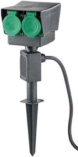 Royal Gardineer Outdoor Steckdose: 4-fach-Garten-Steckdose mit Erdspieß, spritzwassergeschützt IP44 (Steckdose Außen) - 4-steckdose Metall