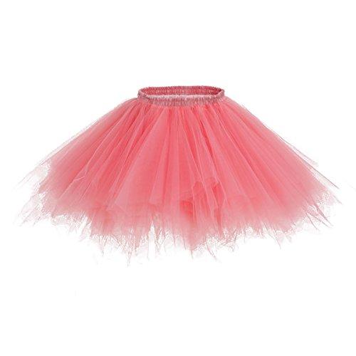 Bridesmay Tutu Damenrock Tüllrock 50er Kurz Ballet Tanzkleid Unterkleid Cosplay Crinoline Petticoat für Rockabilly Kleid Coral L (Voraus-rock)