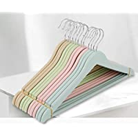 Ash & Roh Unbreakable Plastic Wooden Look Cloth Hanger for Hanging Suits/Pants/Shirts/Skirts etc, Set of 6
