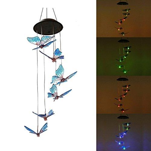 Sportstorm Solar Windspiel Farbwechsel Solar LED-Mobile Windspiel, Wasserdicht Sechs Kolibri für Home/Party/Nacht/Garten/Festival Decor/Valentinstag Geschenk, Schmetterling -