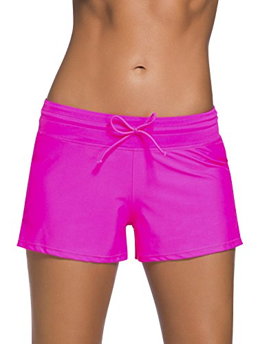 Dolamen Damen Badeshorts Bikinihose Shorts Trunks Badeanzug Bauchweg Badekleid mit verstellbarem Tunnelzug Mini Bikini Slip Beachwear, Boyleg Stil (Medium, Rose) (Shorts Classic Nylon)