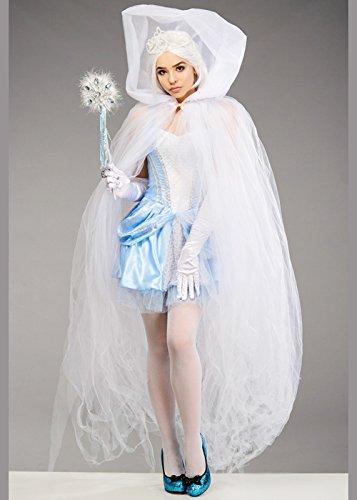 Damen Schneekönigin White Tüll Net Sheer Cape (Schneekönigin Kostüm)