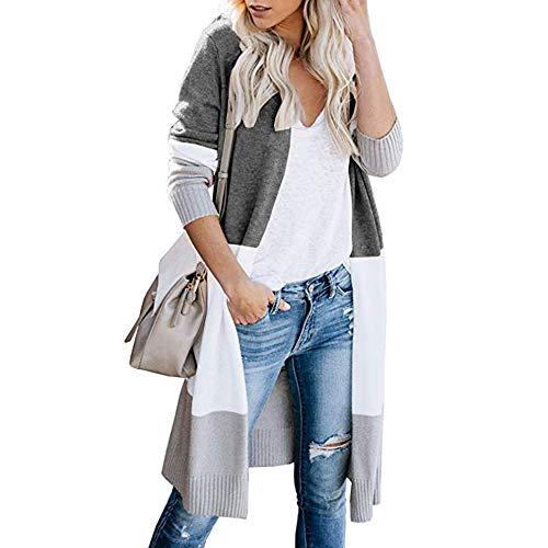 Vertvie Damen Mantel Langarm Open Front Cardigan Strickjacke Asymmetrisch Schnitt Strickmantel Langshirt mit Taschen (EU M/Etikettengröße L, W-Dunkelgrau)