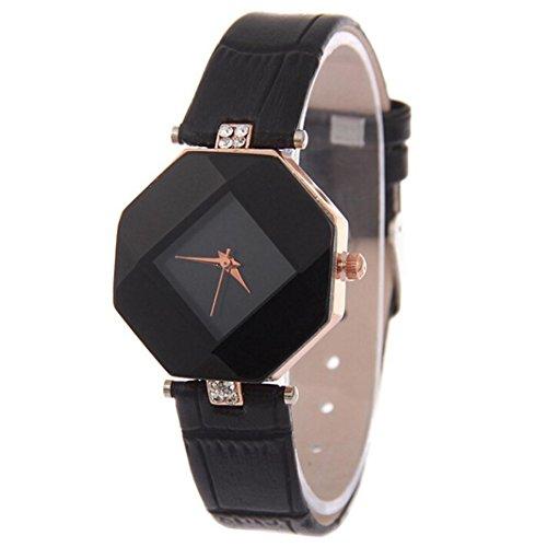Yogogo Damen Strass Quartz Analog Armbanduhr , 1 Cent Artikel   Lederband   Dekoration   Geschenk   Alugehäuse   Quarzwerk   Kleiduhr   13mm Bandbreite   210mm Bandlänge (Schwarz)