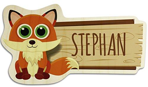 Türschild aus Holz mit Namen Stephan - Motiv Fuchs - Namensschild, Holzschild, Kinderzimmer-Schild