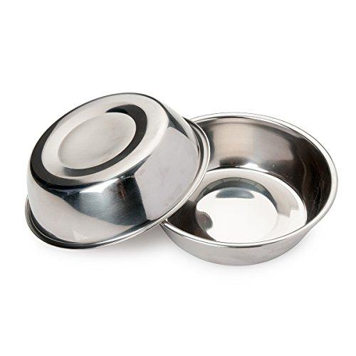 Bonza Futternapf für Hunde, Edelstahl, 400 ml, 2 Stück Ideal für kleine Hunde und Katzen. -
