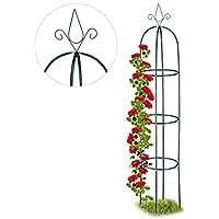 Relaxdays, 200 cm, Arco para Plantas trepadoras, Curvado, Resistente, Soporte para Enredaderas, Verde Oscuro, Acero