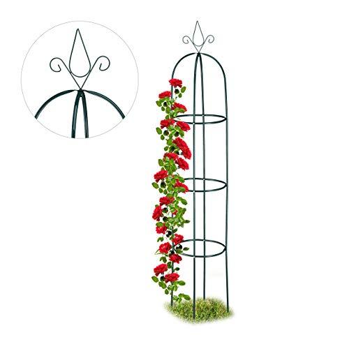 Relaxdays Rankhilfe, rund, freistehend, Rosen, Tomaten, Wein, Garten, wetterfest, XL Rankobelisk, H: 200 cm, dunkelgrün