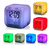 BESQUE Smart Digital Alarm Clock for Bedroom,Heavy Sleepers,Students with Automatic 7 Colour Changing LED Digital Alarm Clock with Date, Time, Temperature for Office and Bedroom, digital clock for home,alarm clocks for students