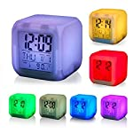 BESQUE Smart Digital Alarm Clock for Bedroom,Heavy Sleepers,Students with Automatic 7 Colour Changing LED Digital Alarm...