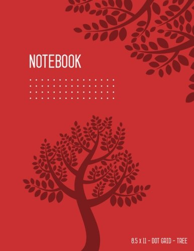 Dot Grid Notebook 8.5 x 11 Tree: Red  Journal Notebook  for Writing and Drawing, Cute Design, Blank, Large, Soft Cover, Dotted Matrix, No Bleed, Numbered Pages (Cute Bujo Notebooks) por Katie Kate