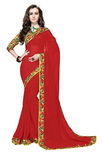 Arawins Red Georgette Low Price Sale Offer Sarees For Women Party Wear...